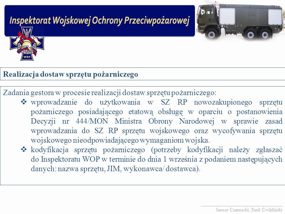 Realizacja dostaw sprzętu pożarniczego Zadania gestora w procesie realizacji dostaw sprzętu pożarniczego:  wprowadzanie do użytkowania w SZ RP nowoza