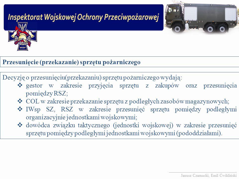 Przesunięcie (przekazanie) sprzętu pożarniczego Decyzję o przesunięciu(przekazaniu) sprzętu pożarniczego wydają:  gestor w zakresie przyjęcia sprzętu