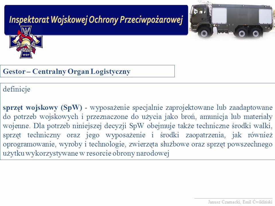 Gestor – Centralny Organ Logistyczny definicje sprzęt wojskowy (SpW) - wyposażenie specjalnie zaprojektowane lub zaadaptowane do potrzeb wojskowych i