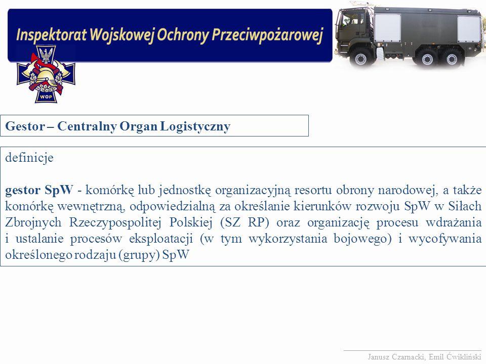 Gestor – Centralny Organ Logistyczny definicje gestor SpW - komórkę lub jednostkę organizacyjną resortu obrony narodowej, a także komórkę wewnętrzną,