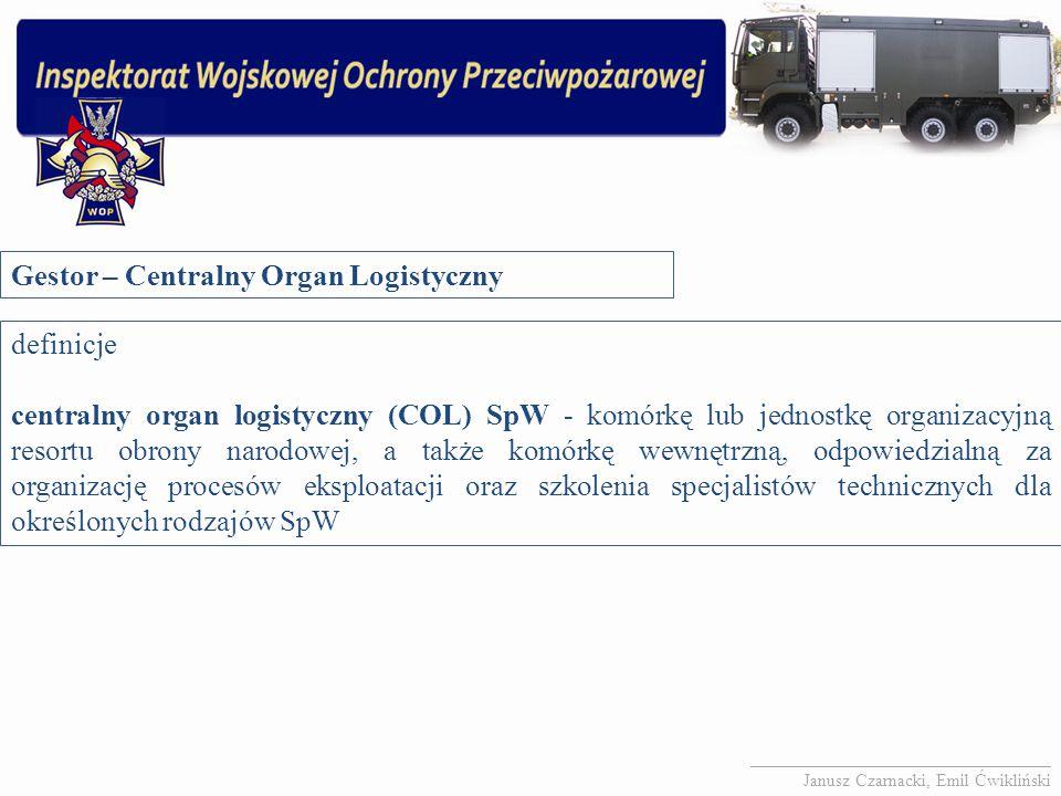 Gestor – Centralny Organ Logistyczny definicje centralny organ logistyczny (COL) SpW - komórkę lub jednostkę organizacyjną resortu obrony narodowej, a