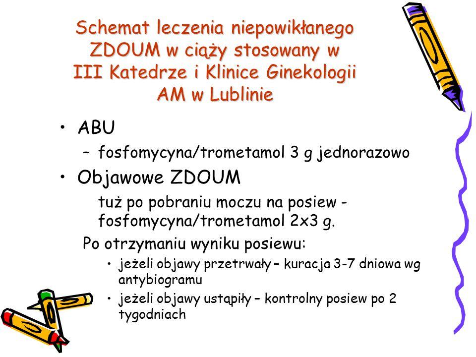 Schemat leczenia niepowikłanego ZDOUM w ciąży stosowany w III Katedrze i Klinice Ginekologii AM w Lublinie ABU –fosfomycyna/trometamol 3 g jednorazowo
