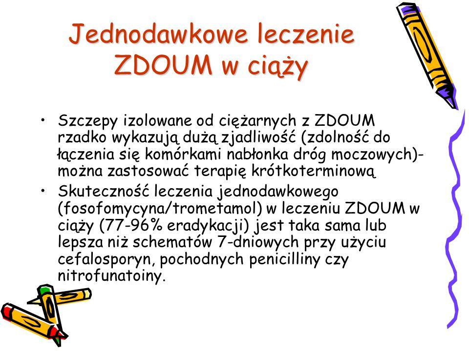 Jednodawkowe leczenie ZDOUM w ciąży Szczepy izolowane od ciężarnych z ZDOUM rzadko wykazują dużą zjadliwość (zdolność do łączenia się komórkami nabłon