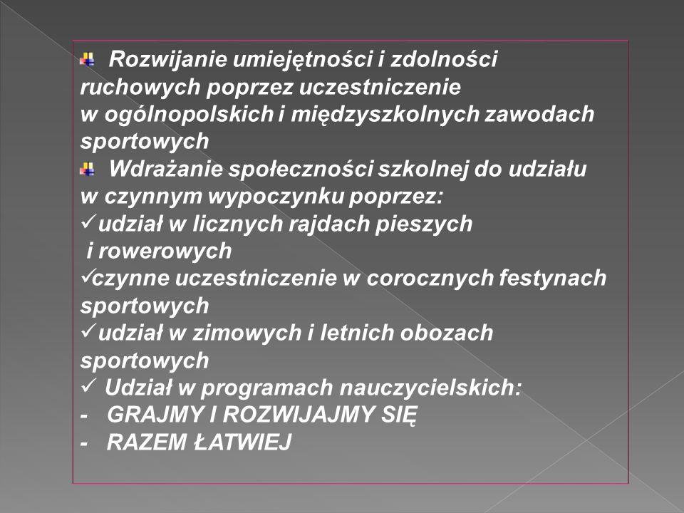 Rozwijanie umiejętności i zdolności ruchowych poprzez uczestniczenie w ogólnopolskich i międzyszkolnych zawodach sportowych Wdrażanie społeczności szk
