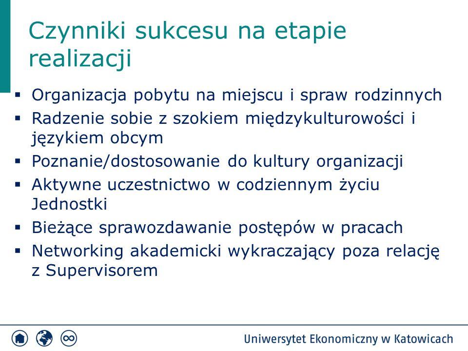 Czynniki sukcesu na etapie realizacji  Organizacja pobytu na miejscu i spraw rodzinnych  Radzenie sobie z szokiem międzykulturowości i językiem obcy