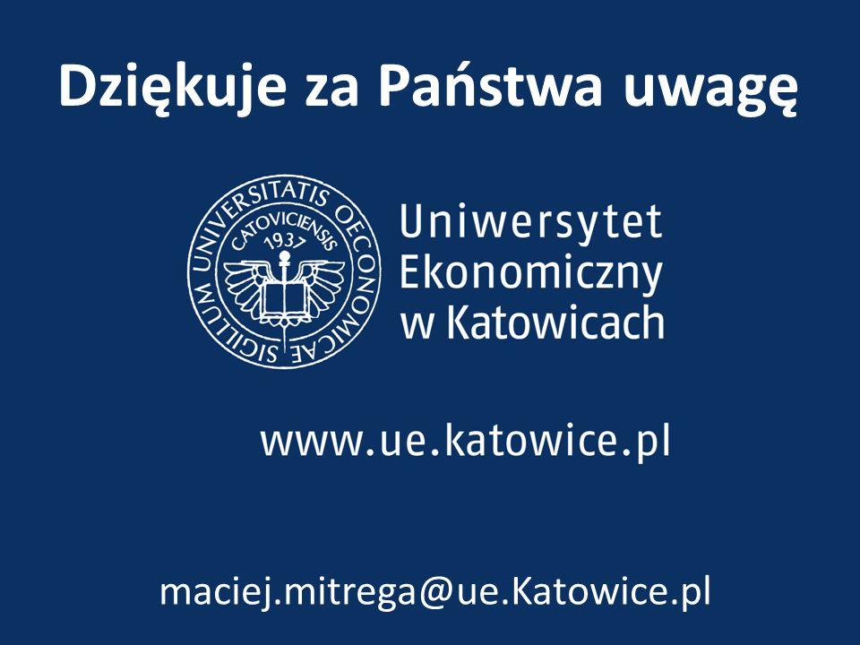Dziękuje za Państwa uwagę maciej.mitrega@ue.Katowice.pl