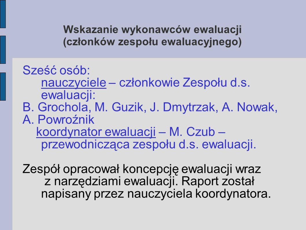 Wskazanie wykonawców ewaluacji (członków zespołu ewaluacyjnego) Sześć osób: nauczyciele – członkowie Zespołu d.s. ewaluacji: B. Grochola, M. Guzik, J.