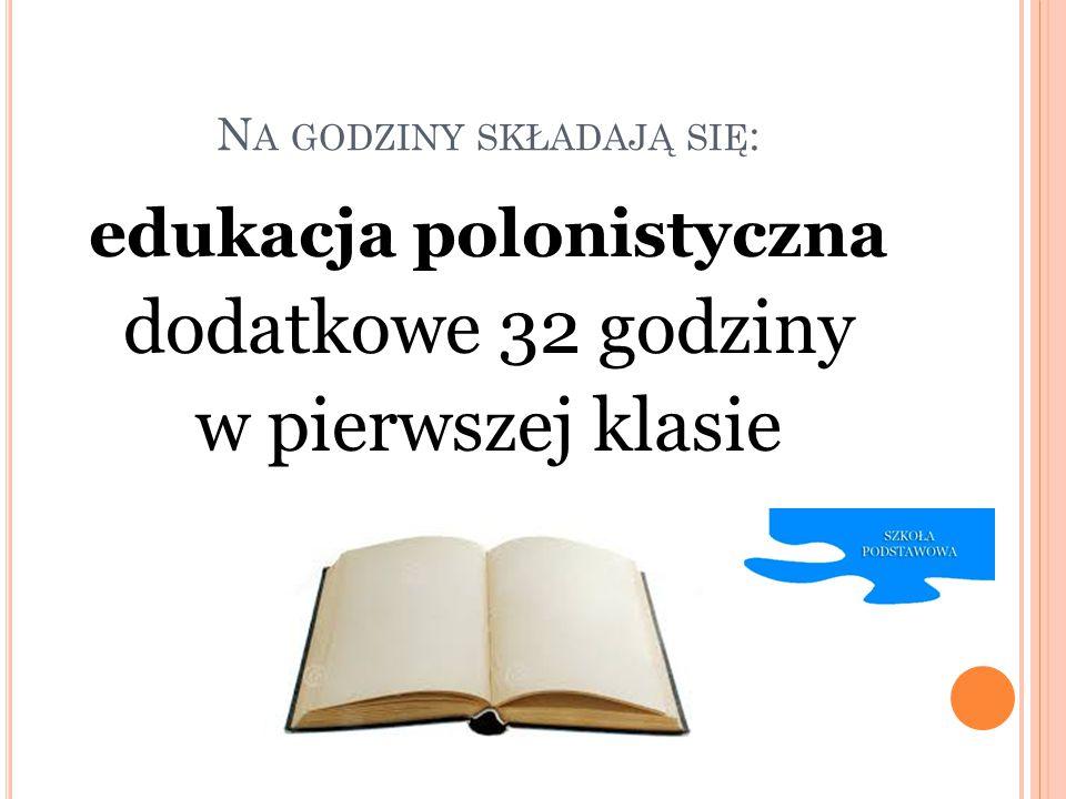 N A GODZINY SKŁADAJĄ SIĘ : edukacja polonistyczna dodatkowe 32 godziny w pierwszej klasie