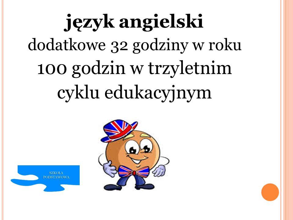 język angielski dodatkowe 32 godziny w roku 100 godzin w trzyletnim cyklu edukacyjnym