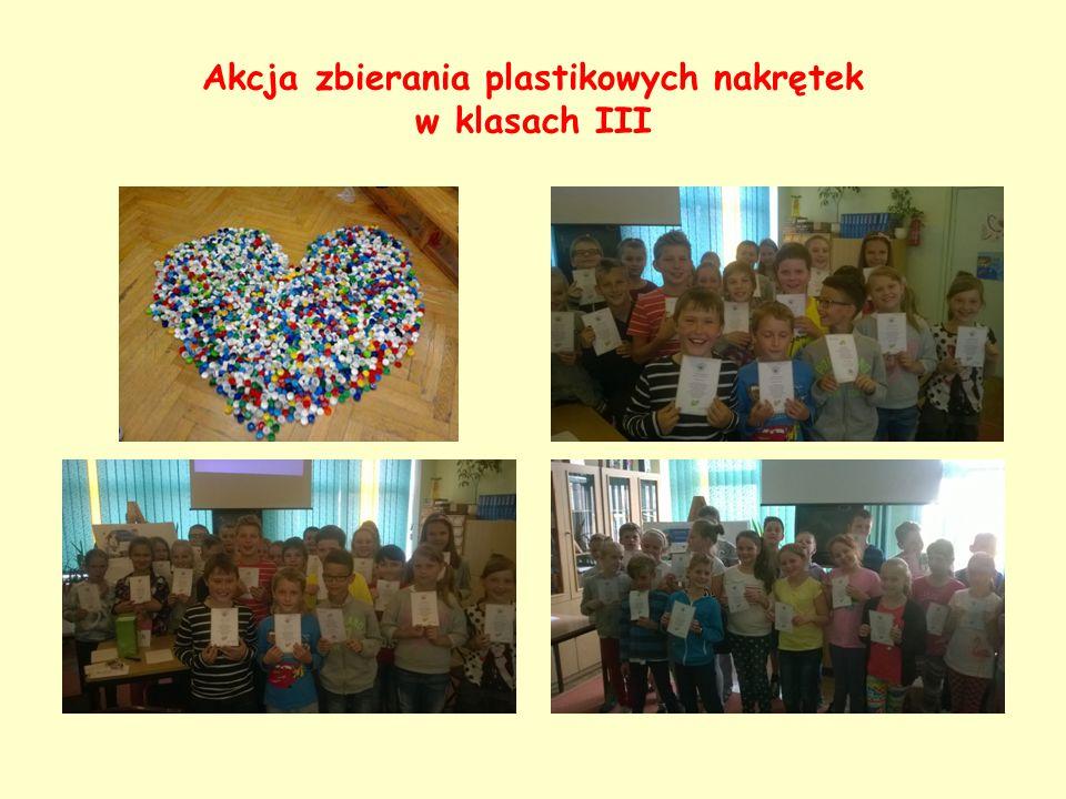 Akcja zbierania plastikowych nakrętek w klasach III