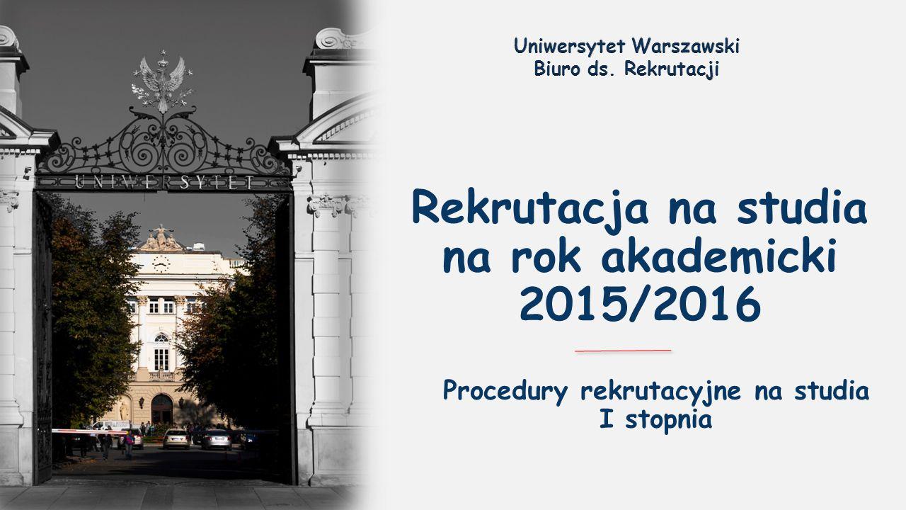 Rekrutacja na studia na rok akademicki 2015/2016 Procedury rekrutacyjne na studia I stopnia