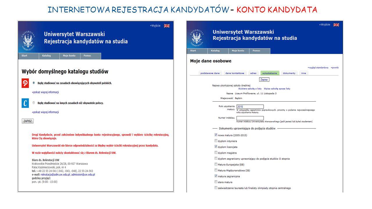 INTERNETOWA REJESTRACJA KANDYDATÓW – KONTO KANDYDATA