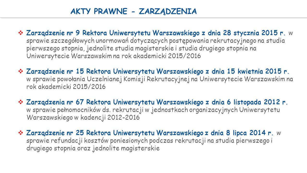 AKTY PRAWNE - ZARZĄDZENIA  Zarządzenie nr 9 Rektora Uniwersytetu Warszawskiego z dnia 28 stycznia 2015 r. w sprawie szczegółowych unormowań dotyczący