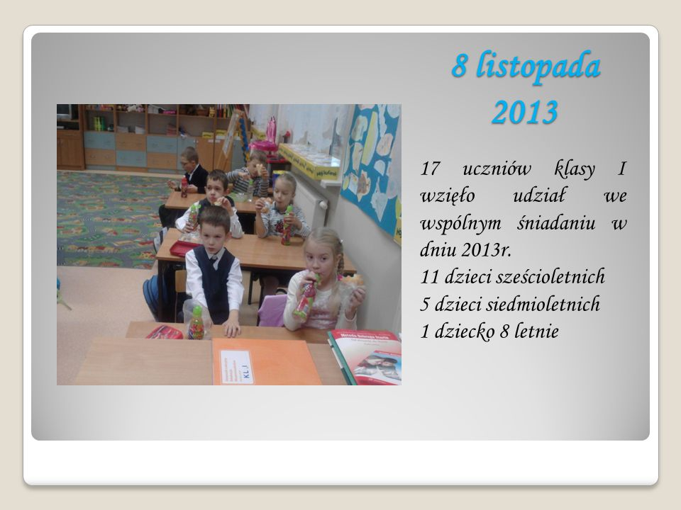 8 listopada 2013 17 uczniów klasy I wzięło udział we wspólnym śniadaniu w dniu 2013r. 11 dzieci sześcioletnich 5 dzieci siedmioletnich 1 dziecko 8 let