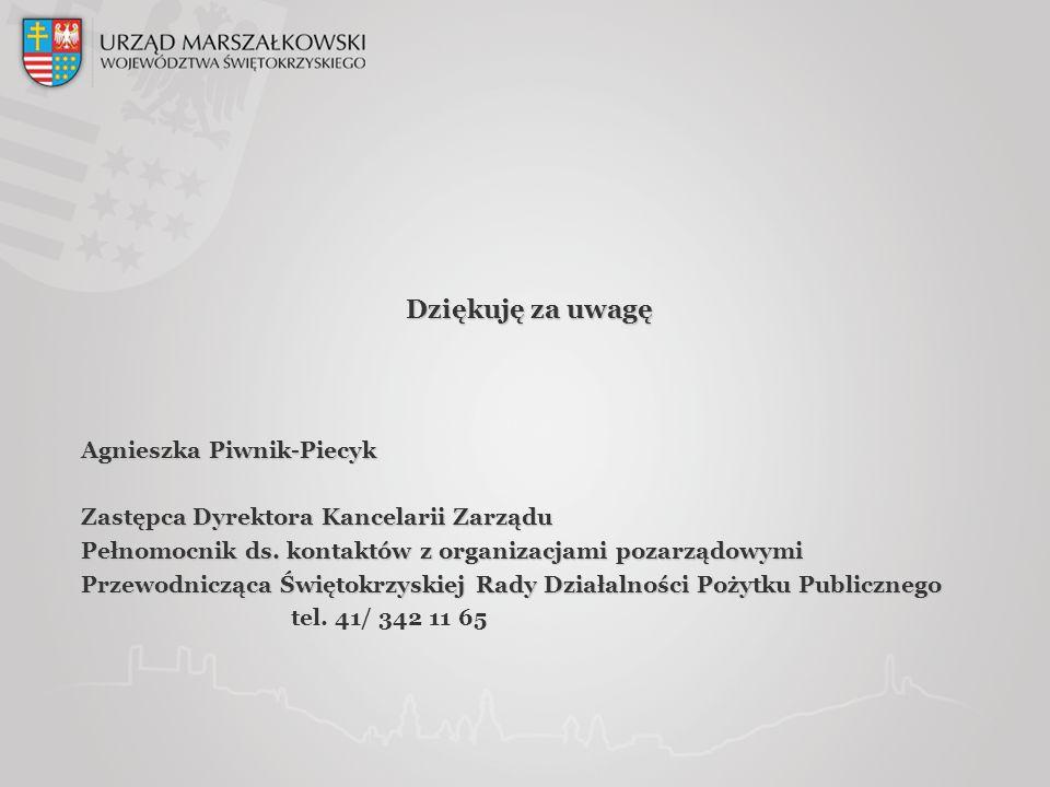 Dziękuję za uwagę Agnieszka Piwnik-Piecyk Zastępca Dyrektora Kancelarii Zarządu Pełnomocnik ds.