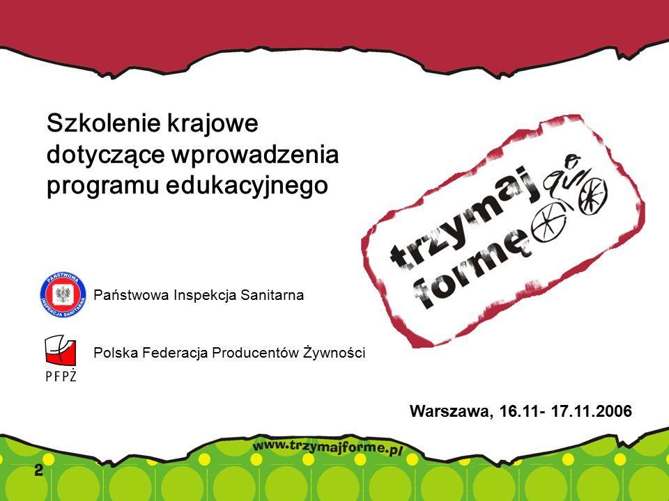 Szkolenie krajowe dotyczące wprowadzenia programu edukacyjnego Warszawa, 16.11- 17.11.2006 Państwowa Inspekcja Sanitarna Polska Federacja Producentów