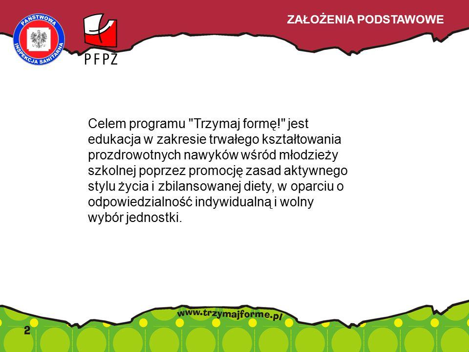 Celem programu Trzymaj formę! jest edukacja w zakresie trwałego kształtowania prozdrowotnych nawyków wśród młodzieży szkolnej poprzez promocję zasad aktywnego stylu życia i zbilansowanej diety, w oparciu o odpowiedzialność indywidualną i wolny wybór jednostki.
