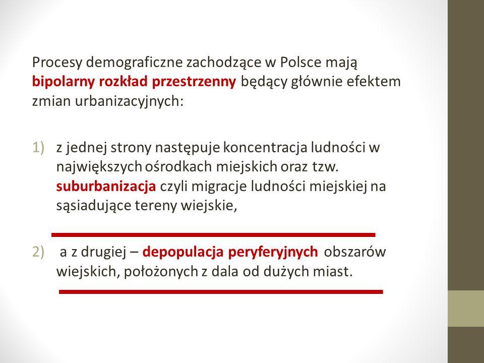 Procesy demograficzne zachodzące w Polsce mają bipolarny rozkład przestrzenny będący głównie efektem zmian urbanizacyjnych: 1)z jednej strony następuj