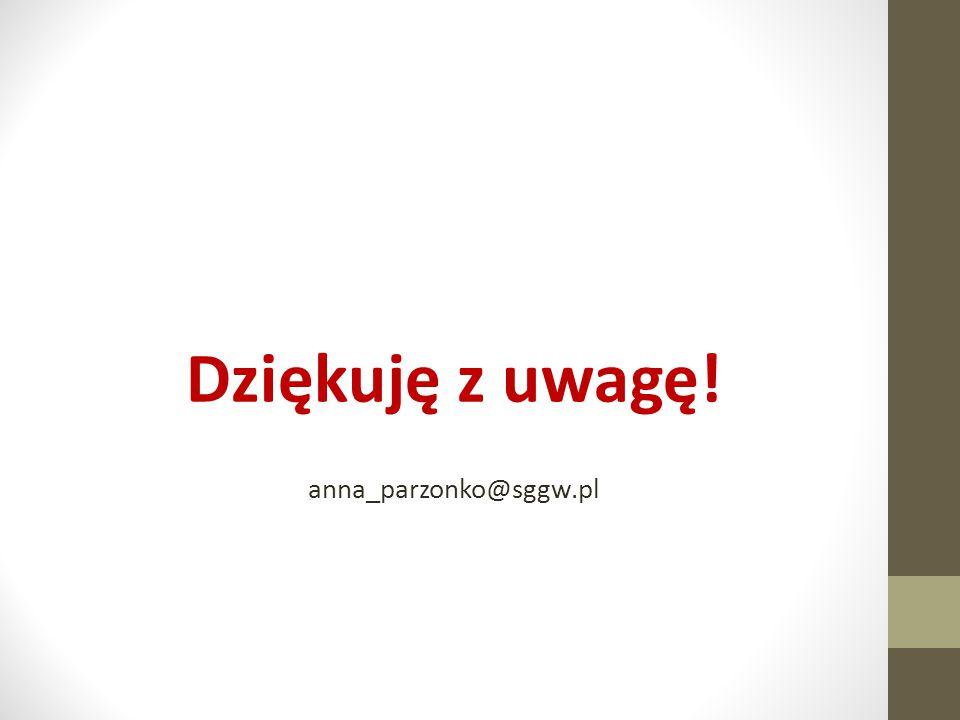 Dziękuję z uwagę! anna_parzonko@sggw.pl
