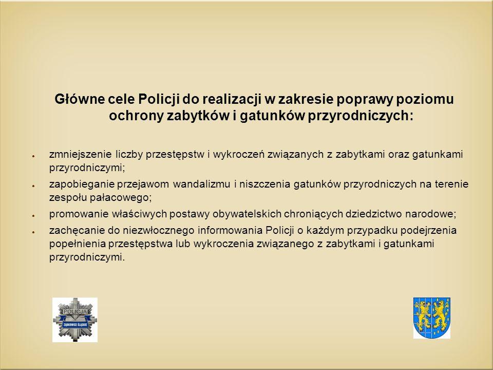 Główne cele Policji do realizacji w zakresie poprawy poziomu ochrony zabytków i gatunków przyrodniczych: ● zmniejszenie liczby przestępstw i wykroczeń