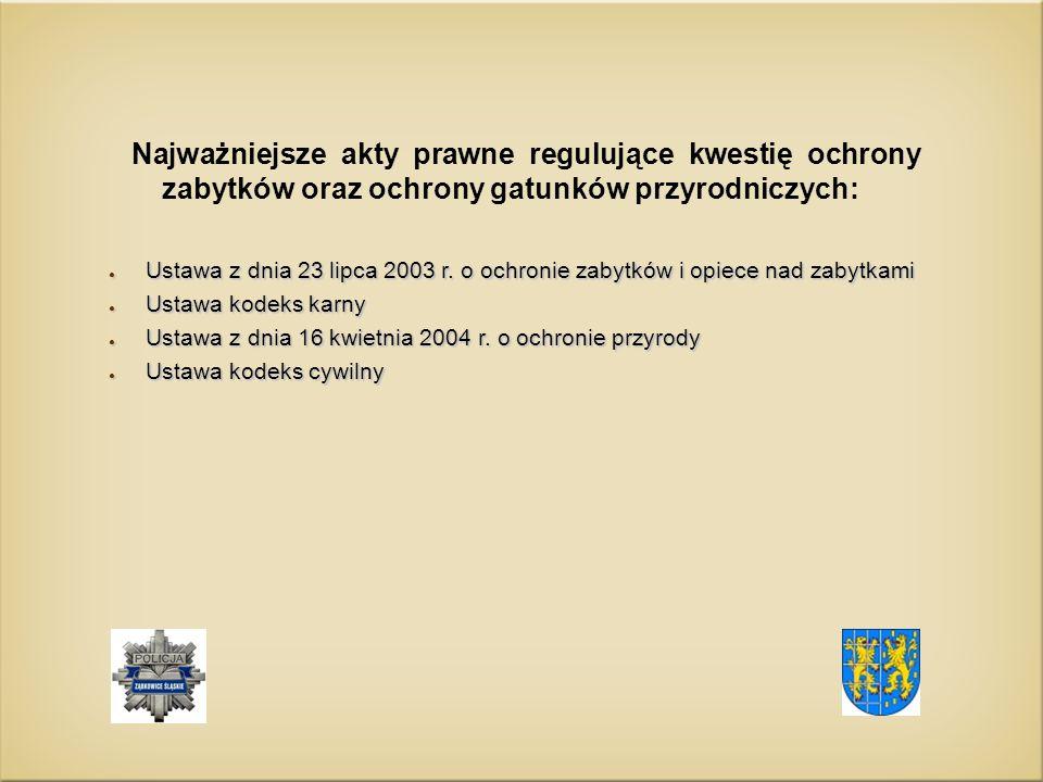 Najważniejsze akty prawne regulujące kwestię ochrony zabytków oraz ochrony gatunków przyrodniczych: ● Ustawa z dnia 23 lipca 2003 r.