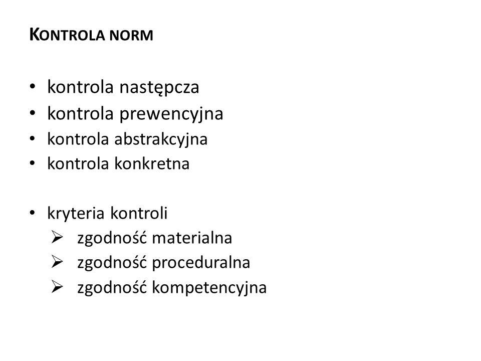 K ONTROLA NORM kontrola następcza kontrola prewencyjna kontrola abstrakcyjna kontrola konkretna kryteria kontroli  zgodność materialna  zgodność pro
