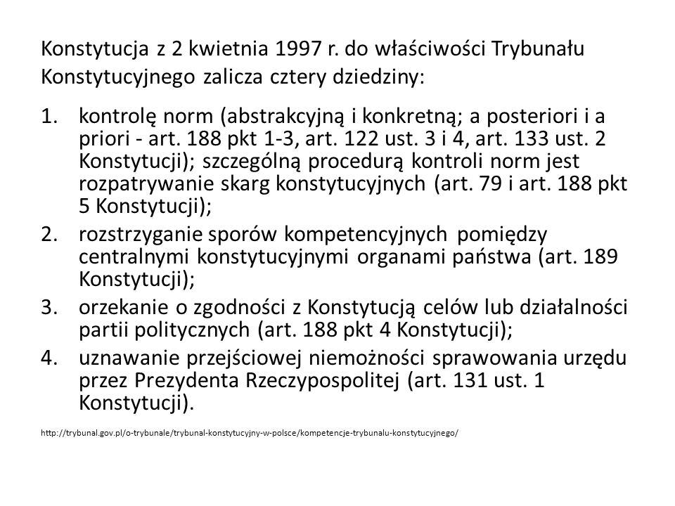 Konstytucja z 2 kwietnia 1997 r. do właściwości Trybunału Konstytucyjnego zalicza cztery dziedziny: 1.kontrolę norm (abstrakcyjną i konkretną; a poste