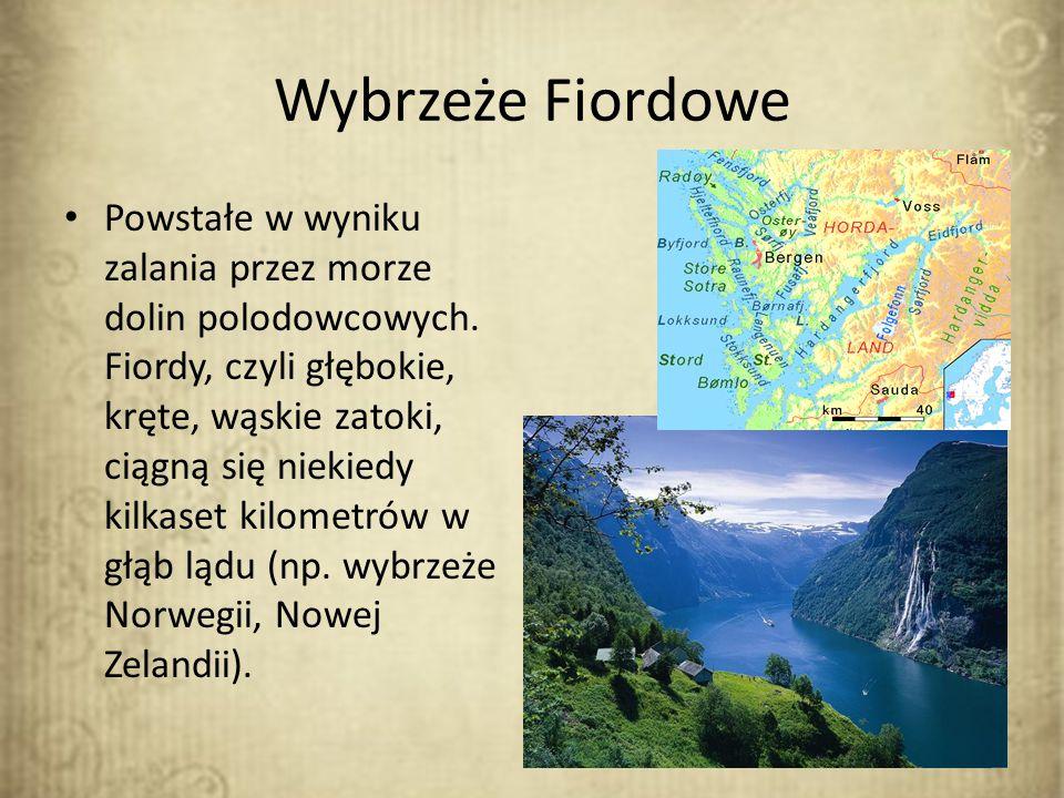 Wybrzeże Fiordowe Powstałe w wyniku zalania przez morze dolin polodowcowych. Fiordy, czyli głębokie, kręte, wąskie zatoki, ciągną się niekiedy kilkase
