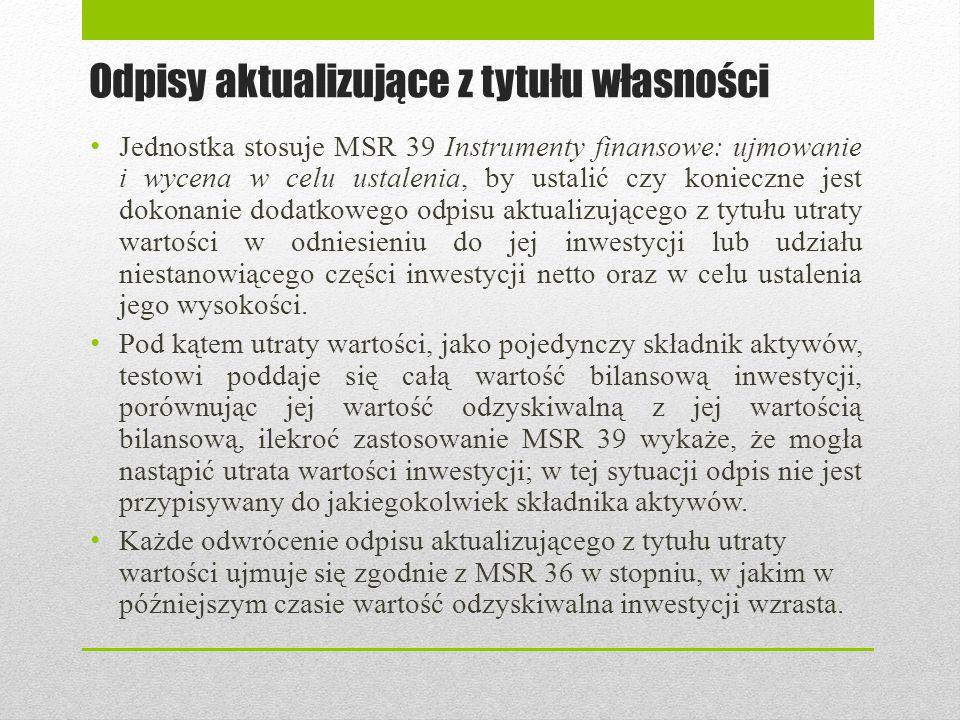 Odpisy aktualizujące z tytułu własności Jednostka stosuje MSR 39 Instrumenty finansowe: ujmowanie i wycena w celu ustalenia, by ustalić czy konieczne