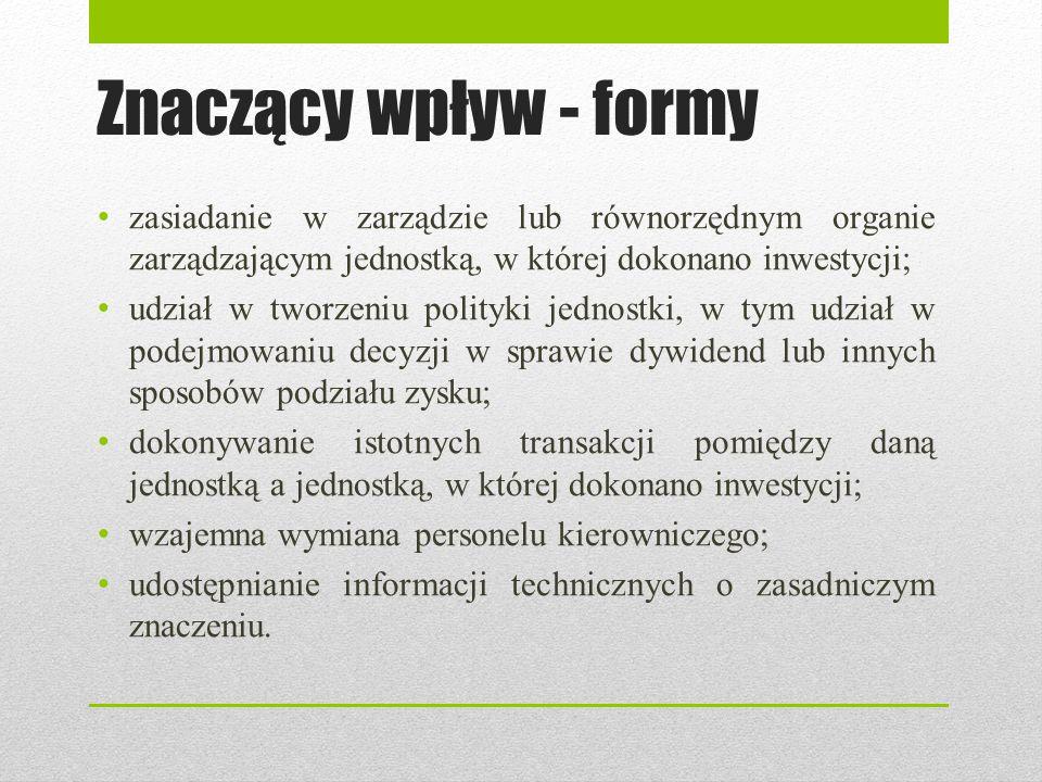 Znaczący wpływ - formy zasiadanie w zarządzie lub równorzędnym organie zarządzającym jednostką, w której dokonano inwestycji; udział w tworzeniu polit