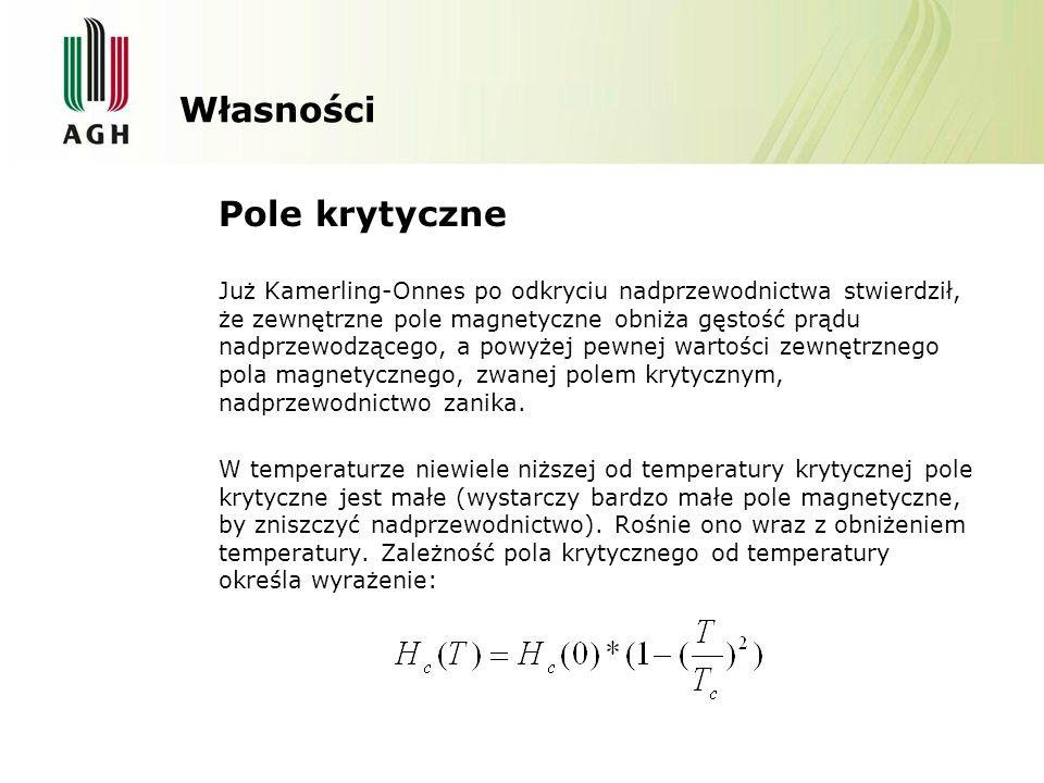 Własności Pole krytyczne Już Kamerling-Onnes po odkryciu nadprzewodnictwa stwierdził, że zewnętrzne pole magnetyczne obniża gęstość prądu nadprzewodzącego, a powyżej pewnej wartości zewnętrznego pola magnetycznego, zwanej polem krytycznym, nadprzewodnictwo zanika.