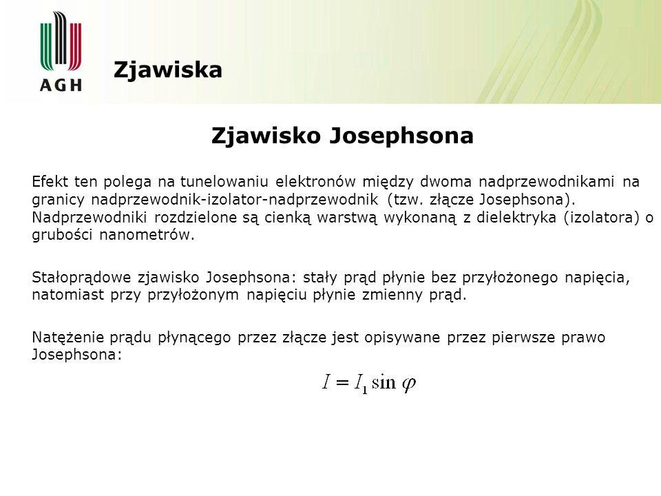 Zjawiska Zjawisko Josephsona Efekt ten polega na tunelowaniu elektronów między dwoma nadprzewodnikami na granicy nadprzewodnik-izolator-nadprzewodnik (tzw.