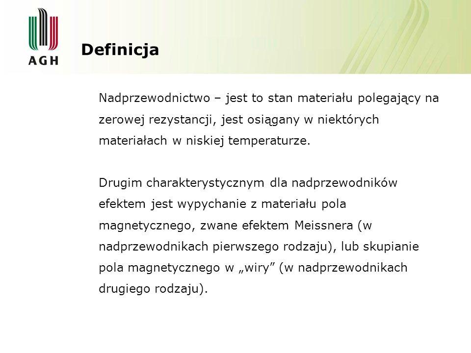 Definicja Nadprzewodnictwo – jest to stan materiału polegający na zerowej rezystancji, jest osiągany w niektórych materiałach w niskiej temperaturze.