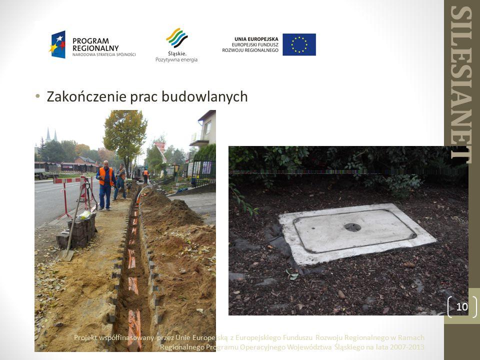 Zakończenie prac budowlanych 10 Projekt współfinasowany przez Unie Europejską z Europejskiego Funduszu Rozwoju Regionalnego w Ramach Regionalnego Programu Operacyjnego Województwa Śląskiego na lata 2007-2013