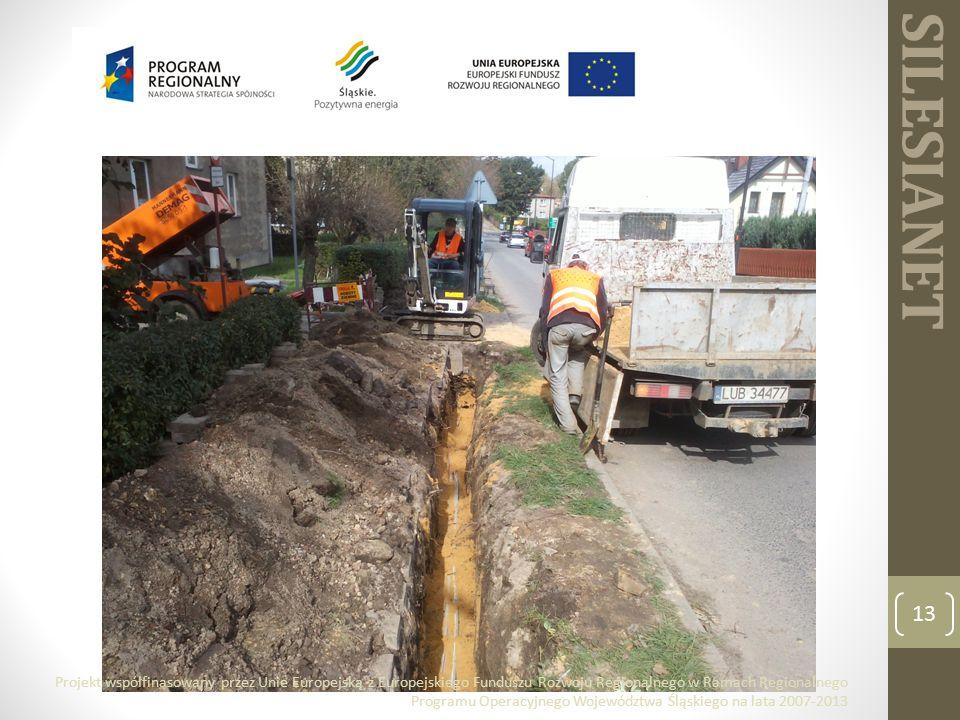 SILESIANET 13 Projekt współfinasowany przez Unie Europejską z Europejskiego Funduszu Rozwoju Regionalnego w Ramach Regionalnego Programu Operacyjnego Województwa Śląskiego na lata 2007-2013