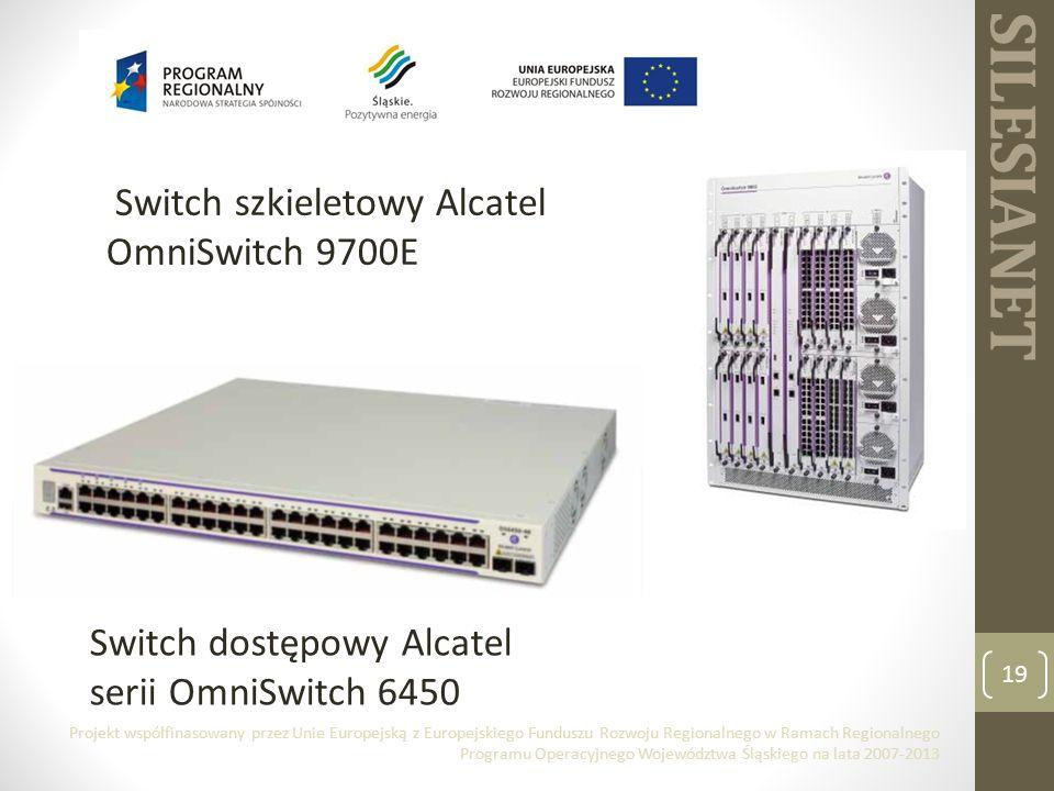 SILESIANET Switch szkieletowy Alcatel OmniSwitch 9700E 19 Switch dostępowy Alcatel serii OmniSwitch 6450 Projekt współfinasowany przez Unie Europejską z Europejskiego Funduszu Rozwoju Regionalnego w Ramach Regionalnego Programu Operacyjnego Województwa Śląskiego na lata 2007-2013