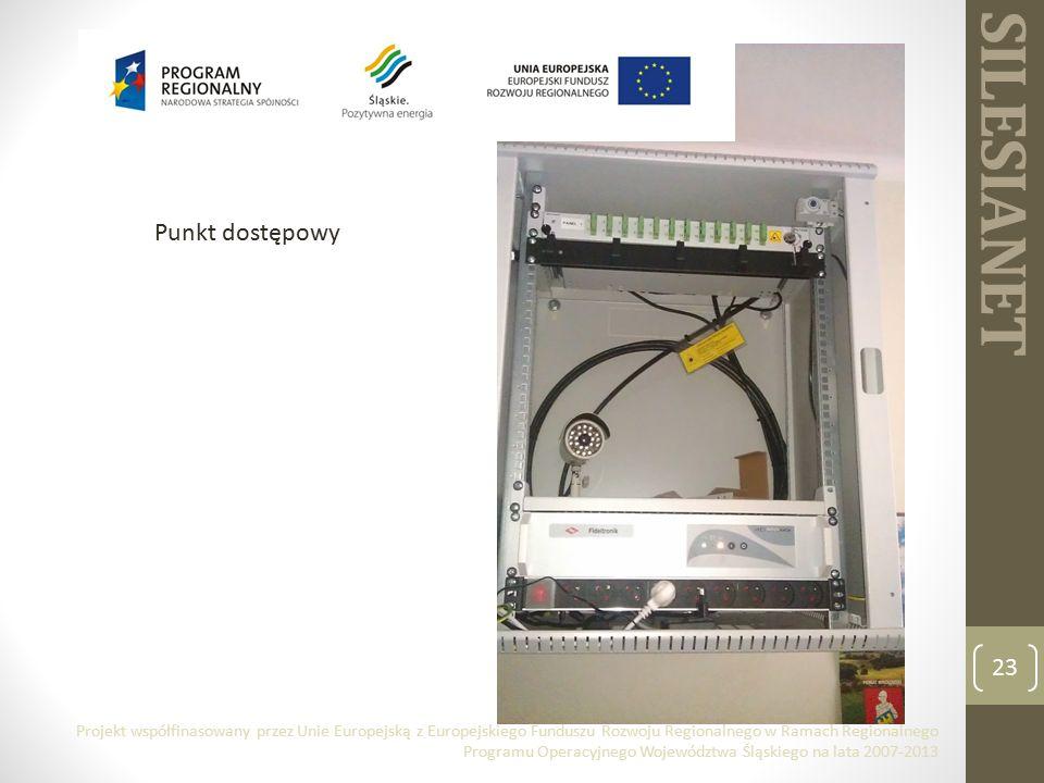SILESIANET 23 Punkt dostępowy Projekt współfinasowany przez Unie Europejską z Europejskiego Funduszu Rozwoju Regionalnego w Ramach Regionalnego Programu Operacyjnego Województwa Śląskiego na lata 2007-2013