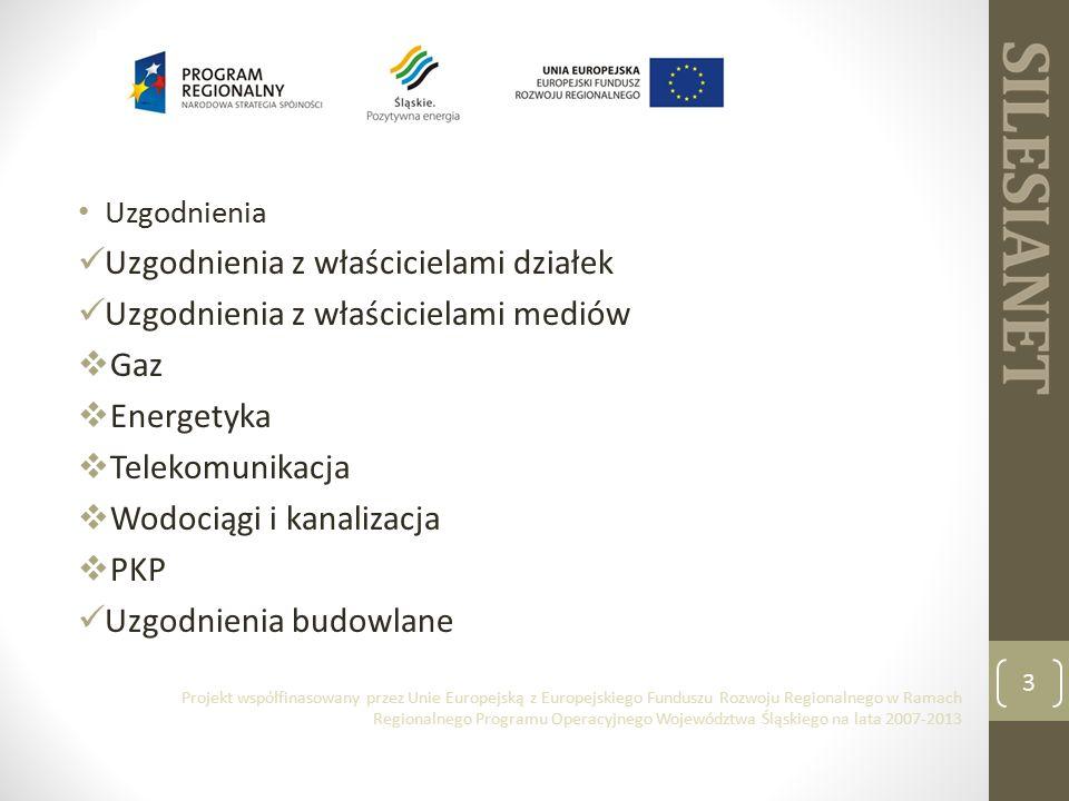 Uzgodnienia Uzgodnienia z właścicielami działek Uzgodnienia z właścicielami mediów  Gaz  Energetyka  Telekomunikacja  Wodociągi i kanalizacja  PKP Uzgodnienia budowlane 3 Projekt współfinasowany przez Unie Europejską z Europejskiego Funduszu Rozwoju Regionalnego w Ramach Regionalnego Programu Operacyjnego Województwa Śląskiego na lata 2007-2013