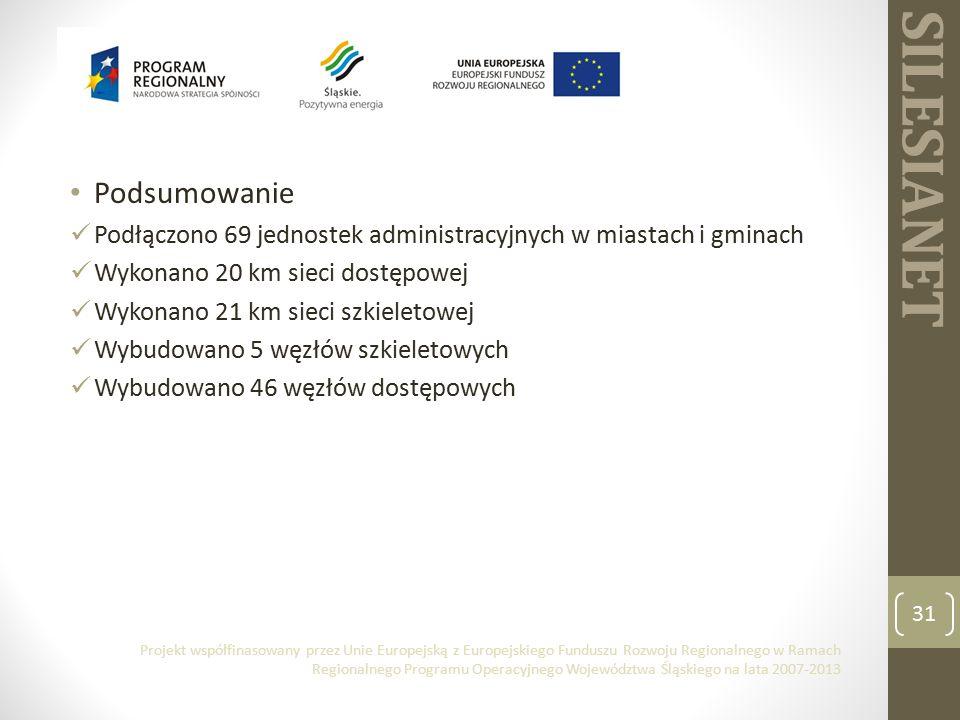 SILESIANET Podsumowanie Podłączono 69 jednostek administracyjnych w miastach i gminach Wykonano 20 km sieci dostępowej Wykonano 21 km sieci szkieletowej Wybudowano 5 węzłów szkieletowych Wybudowano 46 węzłów dostępowych 31 Projekt współfinasowany przez Unie Europejską z Europejskiego Funduszu Rozwoju Regionalnego w Ramach Regionalnego Programu Operacyjnego Województwa Śląskiego na lata 2007-2013