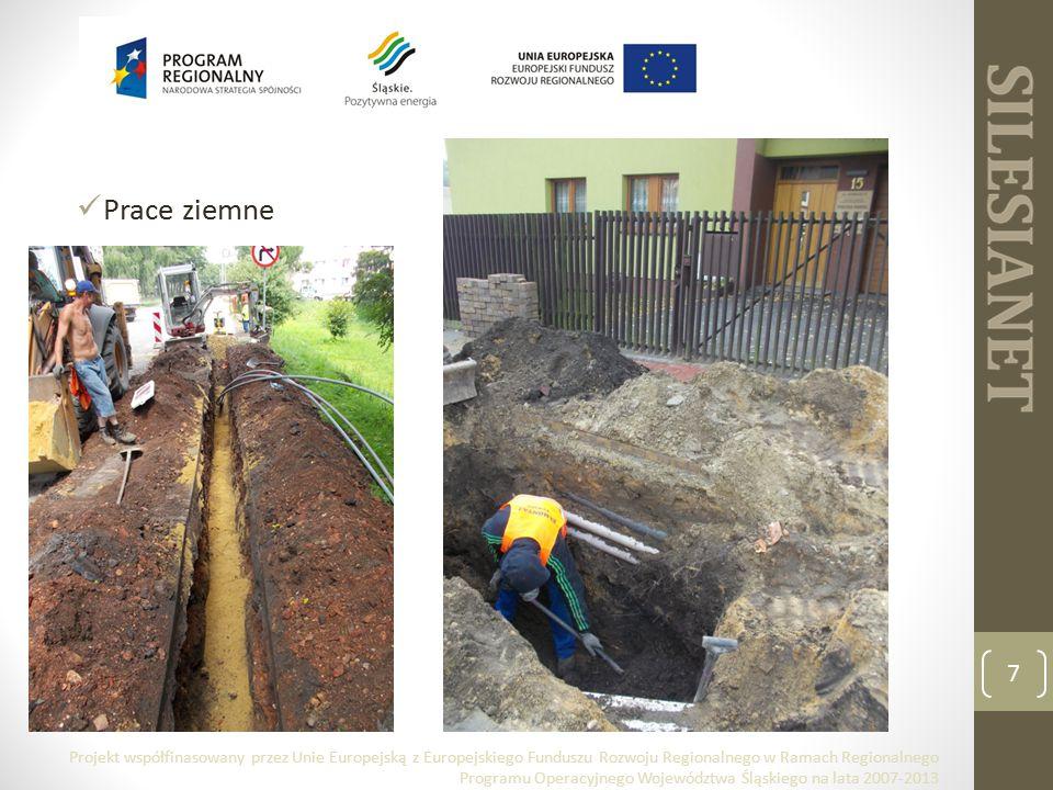 Prace ziemne 7 Projekt współfinasowany przez Unie Europejską z Europejskiego Funduszu Rozwoju Regionalnego w Ramach Regionalnego Programu Operacyjnego Województwa Śląskiego na lata 2007-2013
