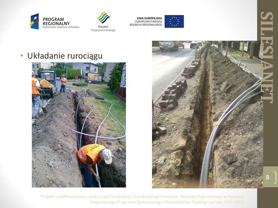Układanie rurociągu 8 Projekt współfinasowany przez Unie Europejską z Europejskiego Funduszu Rozwoju Regionalnego w Ramach Regionalnego Programu Operacyjnego Województwa Śląskiego na lata 2007-2013