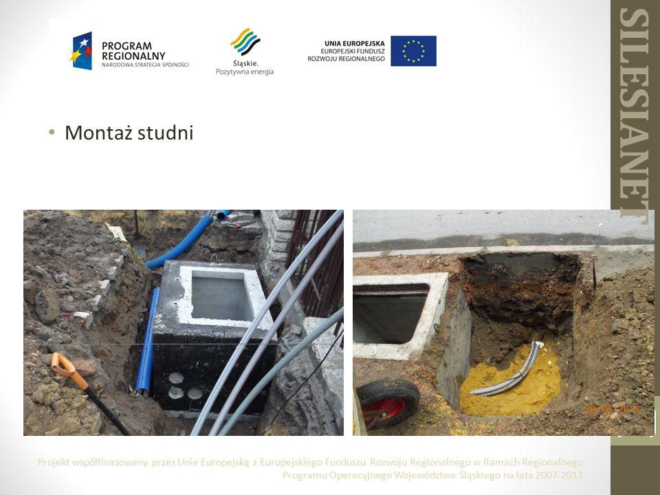 Montaż studni 9 Projekt współfinasowany przez Unie Europejską z Europejskiego Funduszu Rozwoju Regionalnego w Ramach Regionalnego Programu Operacyjnego Województwa Śląskiego na lata 2007-2013 SILESIANET