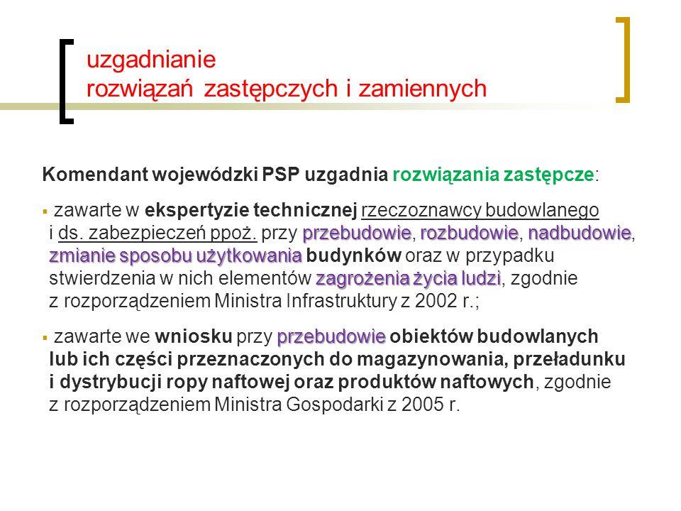 uzgadnianie rozwiązań zastępczych i zamiennych Komendant wojewódzki PSP uzgadnia rozwiązania zastępcze: przebudowierozbudowienadbudowie zmianie sposob