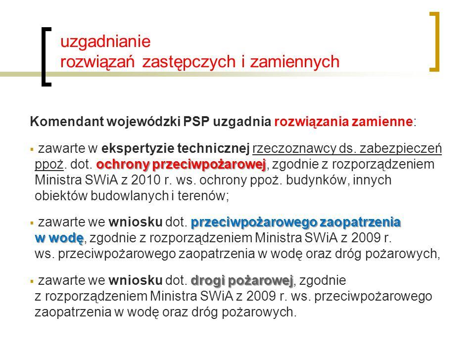 uzgadnianie rozwiązań zastępczych i zamiennych Komendant wojewódzki PSP uzgadnia rozwiązania zamienne: ochrony przeciwpożarowej  zawarte w ekspertyzi