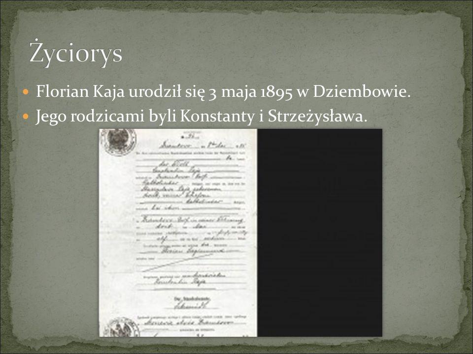 Florian Kaja urodził się 3 maja 1895 w Dziembowie. Jego rodzicami byli Konstanty i Strzeżysława.