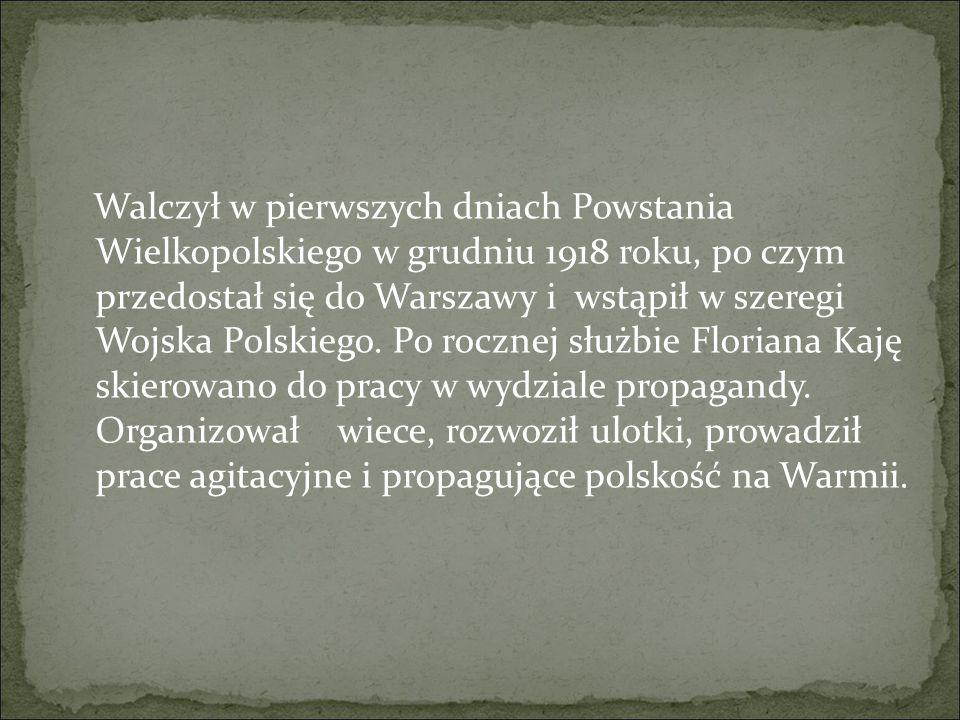Walczył w pierwszych dniach Powstania Wielkopolskiego w grudniu 1918 roku, po czym przedostał się do Warszawy i wstąpił w szeregi Wojska Polskiego. Po