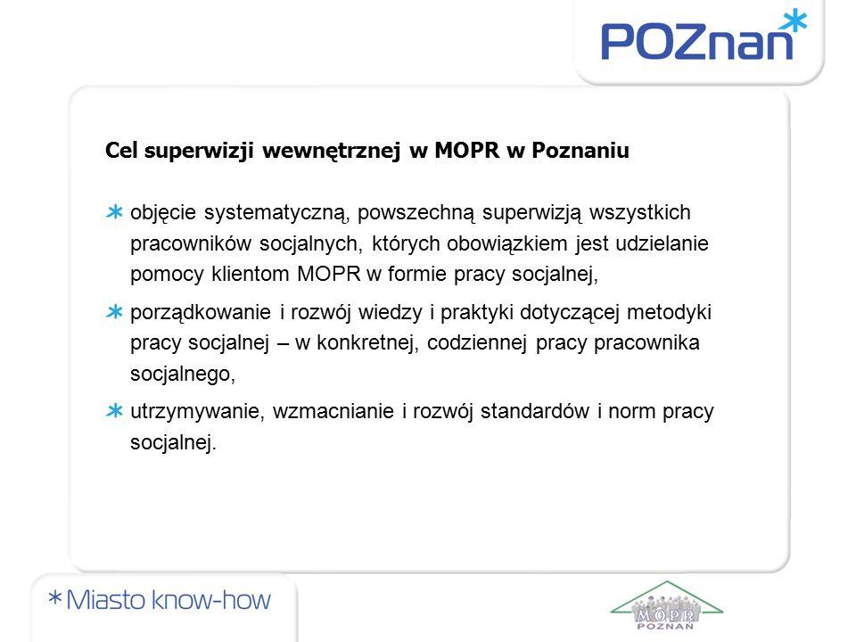 Cel superwizji wewnętrznej w MOPR w Poznaniu objęcie systematyczną, powszechną superwizją wszystkich pracowników socjalnych, których obowiązkiem jest