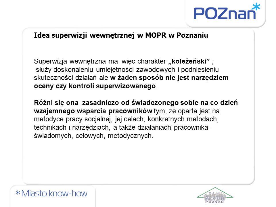 """Idea superwizji wewnętrznej w MOPR w Poznaniu Superwizja wewnętrzna ma więc charakter """"koleżeński"""" ; służy doskonaleniu umiejętności zawodowych i podn"""
