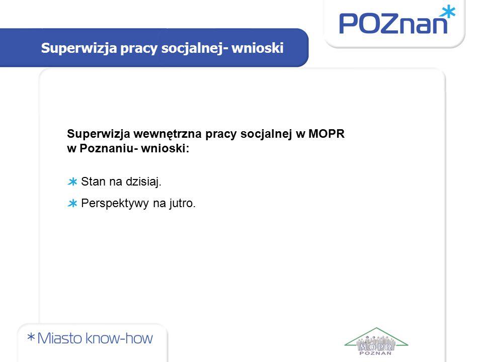 Superwizja pracy socjalnej- wnioski Superwizja wewnętrzna pracy socjalnej w MOPR w Poznaniu- wnioski: Stan na dzisiaj. Perspektywy na jutro.