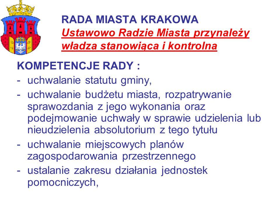 RADA MIASTA KRAKOWA Ustawowo Radzie Miasta przynależy władza stanowiąca i kontrolna KOMPETENCJE RADY : -uchwalanie statutu gminy, -uchwalanie budżetu
